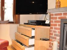 Meuble TV en placage Chêne et Chêne massif